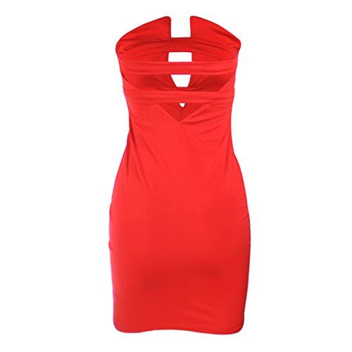 YJYdada_ Blouse Sexy Breast-Wrapped Women's Clothes Bare Back and Tight Nightclub Dresses (M, -