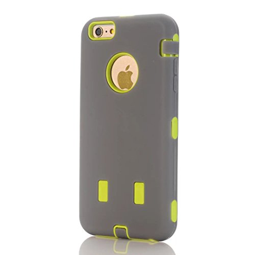 """iPhone 6S Plus Coque,iPhone 6 Plus Coque,Lantier Heavy Duty double couche tactile antichoc couverture souple de protection avec disque PC interne pour Apple iPhone 6 Plus/6S plus 5.5 """"Gris + Jaune-ver"""