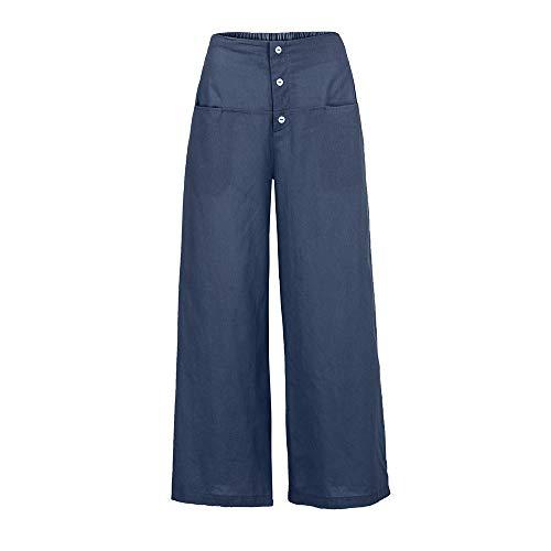Cotton Trousers Bootcut (ZEFOTIM Women Palazzo High Waist Wide Leg Culottes Cotton Linen Trousers Loose Pants (3XL,Navy))