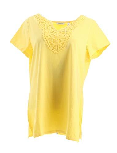 Liz Claiborne NY Lace Trim Split Knit Neck Tee Solid Light Citron L New A262962 ()