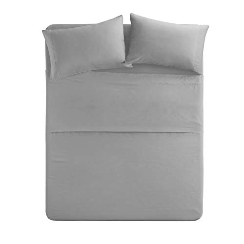 Comfort Spaces - Hypoallergenic Microfiber Sheet Set - 6 Piece - Full Size - Wrinkle, Fade, Stain Resistant - Light Gray - Includes Flat Sheet, Fitted Sheet and 4 Pillow Cases