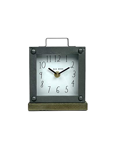 Rae Dunn Desk Clock - Battery Operated Modern Rustic Design with Wooden Base, Top Handle for Bedroom, Office, Kitchen - Small Classic Analog Display - Chic Home Décor for Desktop Table, Countertop - ELEGANT DÉCOR: Rae Dunn's metal and wood clock makes any room feel cozy and pleasant. Made in beautiful color schemes and tones. This gorgeous clock is a wonderful addition to any workspace, bookshelf, living room, office, kitchen, or bedroom. PORTABLE AND BATTERY-POWERED: Battery power lets you take your Rae Dunn clock anywhere! Requires just one AA battery (not included) to power the clock for months at a time. No need to change batteries frequently. Be on time to anywhere! CLASSY STYLE: A beautiful smooth dark metal housing sits above a sturdy wooden base piece. Featuring Rae Dunn's signature font that's unique, elegant and easy to read. Enrich your environment with the latest in contemporary interior design accessories. - clocks, bedroom-decor, bedroom - 317Xw4VRoTL -