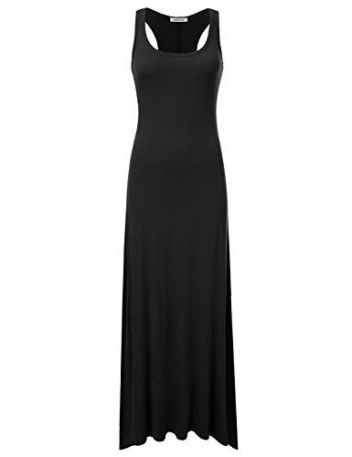 (NINEXIS Women's Sleeveless Scoop Neck Racerback Tank Maxi Dress Black XL)