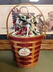 Longaberger 2007 Green Tree Trimming Peppermint Stripe Basket
