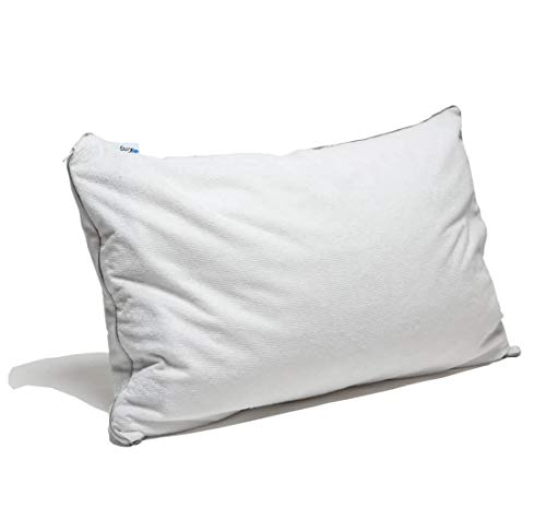 Natural Shredded Rubber Pillow - Kingnex Shredded Talalay Latex Foam Pillow with Zipper Removable Bamboo Cotton Terry Towel Pillow Protector/Cover,Adjustable Loft,Standard Size