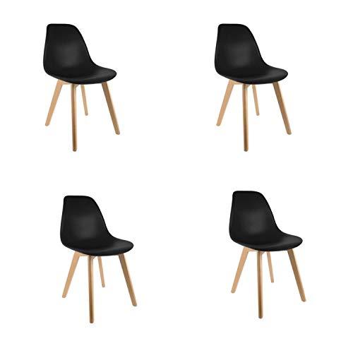 Conjunto de 4 sillas de Comedor con Patas Eiffel en Madera Maciza Sillas de Cocina Retro para Sala de Estar Oficina de diseno Europeo (Negro)