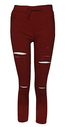 Keaac Womens High Waist Destroyed Ripped Hole Stretch Denim Pants Wine Red XL