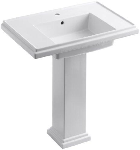 (KOHLER K-2845-1-0 Tresham 30-inch Pedestal Bathroom Sink with Single-Hole Faucet Drilling, White)