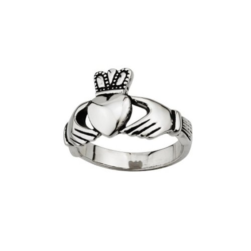 Solvar Mens Stainless Steel Claddagh Ring / Size 13