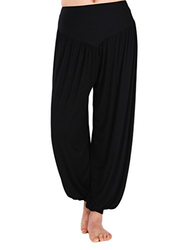 AvaCostume Womens Modal Cotton Soft Yoga Sports Dance Harem Pants, M, Black (Belly Dance Harem Pants For Women)