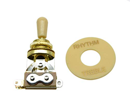 Dopro LP Guitar 3 Way Toggle Switch Gold with Cream Tip and RHYTHM TREBLE Plate for Les Paul