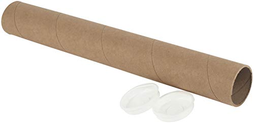 (Kraft Mailing/Shipping Tubes with White End Caps by MT Products (2