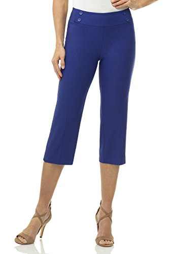 Rekucci Women's Ease in to Comfort Fit Capri with Button Detail (14,Sapphire)