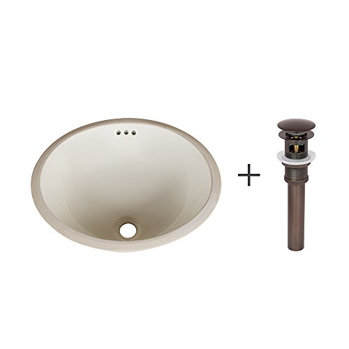 Ronbow Oval Undermount Sink in Biscuit with Pop-Up Bathroom Sink Drain for Ceramic Vessel Sinks in Oil Rubbed Bronze YS0113-5 (Ronbow Oval Ceramic)