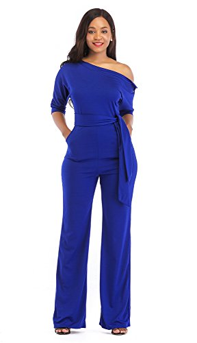 VLUNT Off One Shoulder Solid Color High Waist Jumpsuit Romper with Belt for Women,Blue,X-Large -