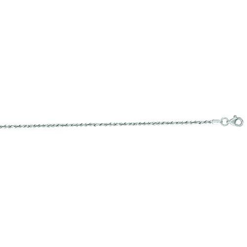 14K Or Blanc Solide Diamant coupe corde Bracelet 17,8cm Épaisseur 1,5mm