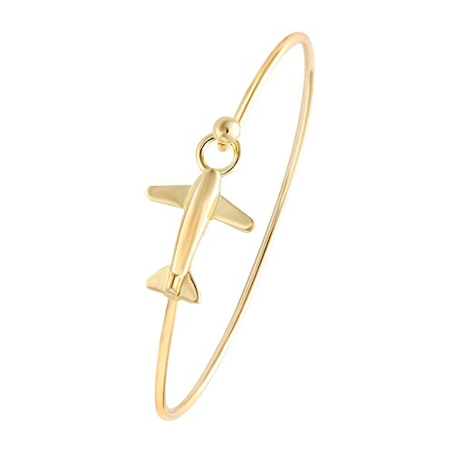 (NOUMANDA Easy Open Gold Silver and Rose Gold Airplane Hook Bangle Cuff Jewelry (Gold))