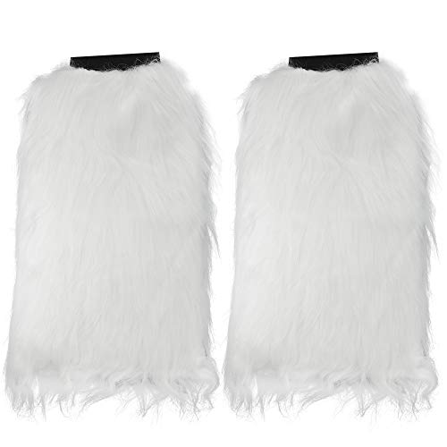 Skeleteen Boot Cuff Leg Warmers - Fluffy White Faux Fur Boots Warmer Cuffs for Women and Girls ()