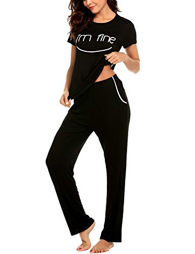 Hotouch Women's Sleepwear Short Sleeve Top & Pants with Pockets Pajamas PJ Set Black L