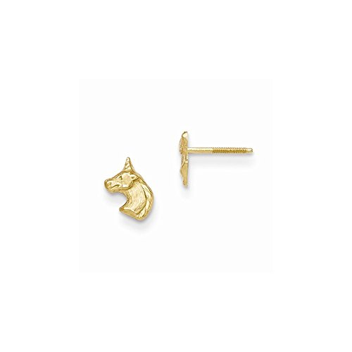 14k Yellow Gold Madi K Unicorn Post Earrings - 14k Gold Yellow Unicorn