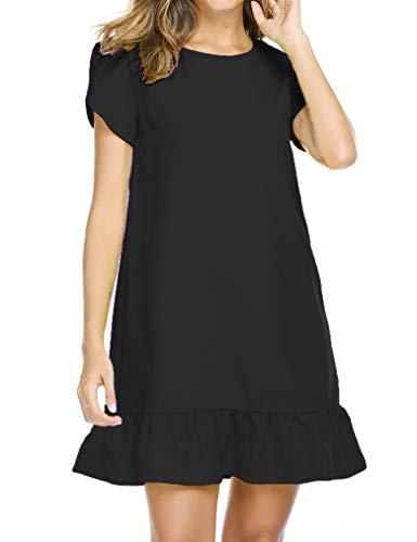 Black Flounce Hem Dress - Naggoo Round Neck Work Dresses for Women Flounce Short Sleeve Plain Dress Black X-Large