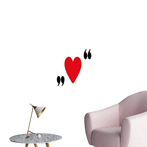Icon Lady In Red - Alexandear Love Art Decor 3D Wall Mural Wallpaper Stickers Cute Red Heart in Quotation Marks Romantic Love Icon Simple Classic Valentines Lady Room Wall Red Black White W20 x H28