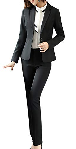 Women Blazers Suits Two Pieces Solid Work Office Lady Business Suit Formal Blazer Jacket Suits Outwear Coat Black