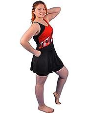 فستان سباحة من البوليستر للسيدات قصير وتنورة سوداء كود 482