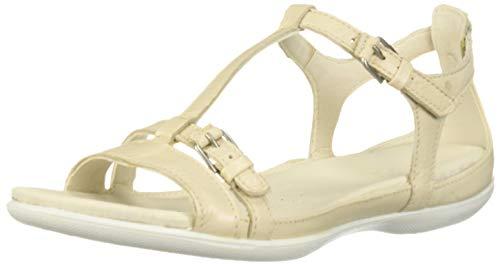 ECCO Women's Women's Flash T-Strap Flat Sandal, Vanilla Metallic, 41 M EU (10-10.5 ()
