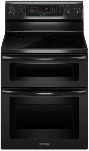 Kitchenaid KERS505XBL 30-Inch, 5-Element Freestanding Double Oven Range with Even-Heat Convection (Renewed)