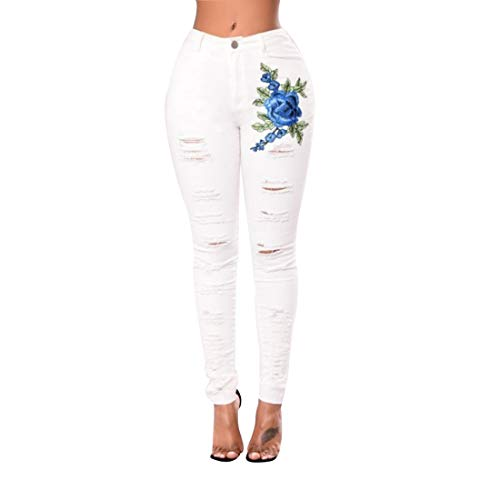 003 Jeans Skinny Jeans Skinny dchirs imprims Floral Extensible pour Femmes White
