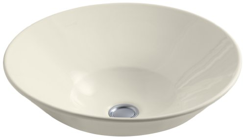 KOHLER K-2200-G-47 Conical Bell Vessels Above-Counter or Wall-Mount Bathroom Sink with Glazed Underside, Almond (Conical Bell)