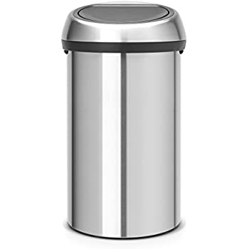 Brabantia Touch Trash Can 16 gallon/60 liter - Matte Steel Fingerprint-Proof, 484506