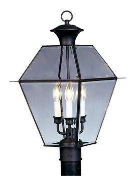 - Livex Lighting 2384-04 Westover 3 Light Outdoor Black Finish Solid Brass Wall Lantern  with Clear Beveled Glass