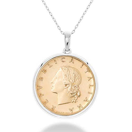 MiaBella 925 Sterling Silver Genuine Italian 20 Lira Coin Medallion Pendant Necklace for Women 18