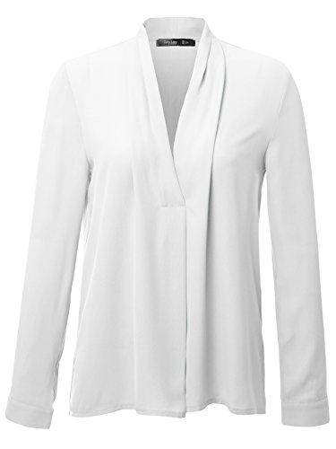 JayJay Women V-neck Ladies Casual Chiffon Cuffed Long Sleeve Blouse Top,WHITE,2XL