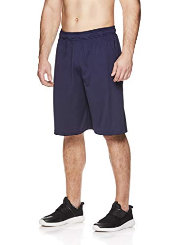 Reebok Men's Mesh Basketball Gym & Running Shorts w/Elastic Drawstring Waistband & Pockets - Bank Double Shot Navy, Small
