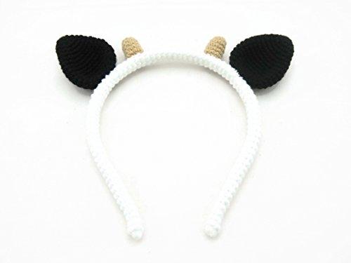 [Hair jewelry Accessories Girl Headband Crochet Animal Ears Cow] (Creative Cow Costumes)