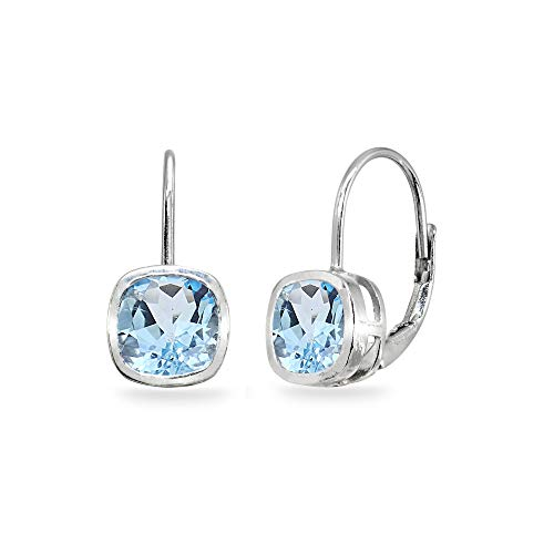 (Sterling Silver Blue Topaz 6x6mm Cushion-Cut Bezel-Set Dainty Leverback Earrings for Women Teen Girls )