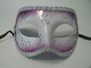 [Purple White Silver Mardi Gras Masquerade Party Value Mask] (Masquerade Masks Near Me)