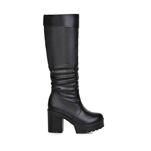 Black Boots Heels BalaMasa Ruffle Style Leather Candy Imitated Platform Chunky Womens RRzpvOwqA