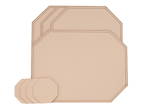 Nikalaz Creamy White Octagon Set of Placemats and Coasters, 4 table mats and 4 coasters, place mats 15.75'' x 11.81'' and coasters 3.94'' x 3.94'', Italian recycled leather, Made in Europe (Made Italian White Leather)