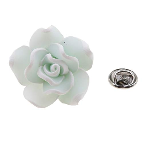 Fashion Beauty Polymer Clay Flower Lapel Pin Corsage Boutonniere Breastpin (Color - Light Green)