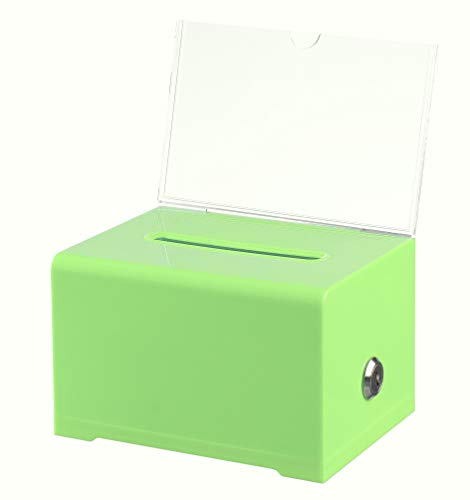 AdirOffice Acrylic Donation & Ballot Box With Lock (6.25 x 4.5 x 4) - Green