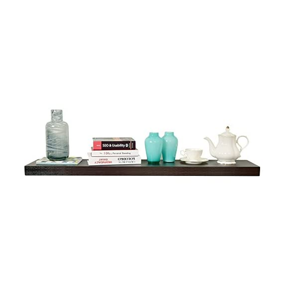 """WELLAND 2"""" Thickness Mission Floating Wall Shelf, 59 7/8"""" Length, Espresso - DIMENSIONS ---- Approximate 2""""T x 9 1/4""""D x 59 7/8""""L.9 1/4"""" of depth is the most common Sturdy Structure ---- Made of high-quality, light-weight MDF.Honeycomb board be filled in,increase the loading weight,Wall anchors made from metal instead of plastic Function ---- Free up space, reduce clutter and highlight your wall decor in a small or large area,ideal for displaying pictures, DVD players, videos, books and so on - wall-shelves, living-room-furniture, living-room - 317YTt4zwnL. SS570  -"""