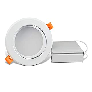 OSTWIN 4 Inch LED Gimbal Recessed Light with Junction Box 9W (45W Eqv) Dimmable Thin Adjustable LED Recessed Light 585lm, 3000K (Warm Light), ETL and Energy Star Listed