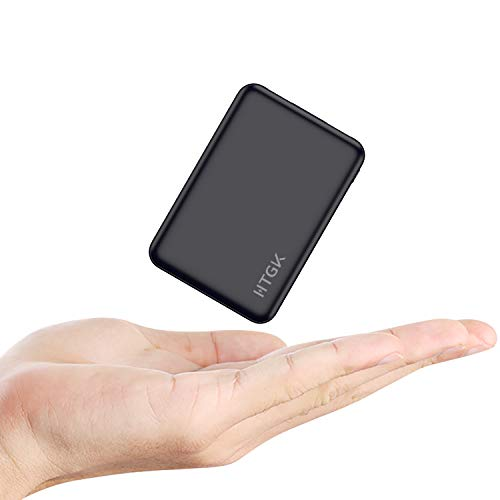 HTGK Mini Power Banks 5000mAh Portable Charger Ultra Slim Power Bank with Dual Input and Output External Battery Pack Compatible with Most Smart Phones (Black) (Power Bank For Smart Phones)