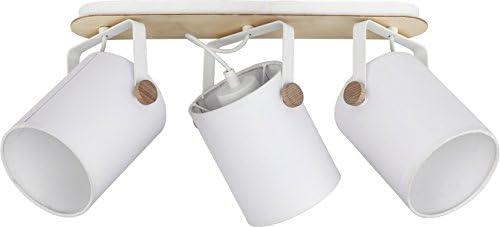 Deckenstrahler Weiß Stoffschirm Holz Schwenkbar 26cm 4-flammig Deckenleuchte Strahler Spot Flur Deckenlampe