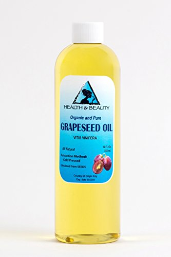 Grapeseed Oil Organic Carrier Cold Pressed 100% Pure 12 oz (12 Hair Bottle Lotion Oz)