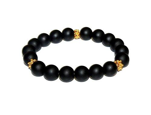 (Men's 10mm Matte Black Onyx and Gold Vermeil Bracelet, Men's Black and Gold Plated Beads Bracelet)